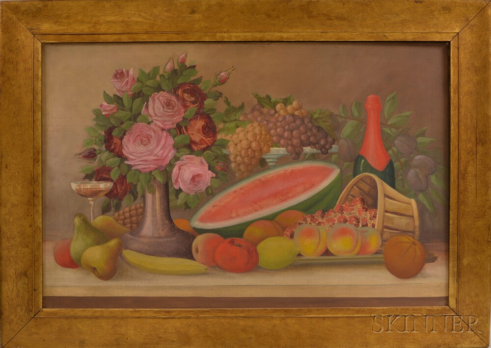 American School, 20th Century       Still Life with Fruit and Flowers.