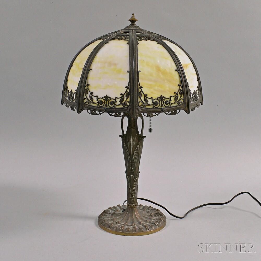 Metal Overlay and Slag Glass Table Lamp