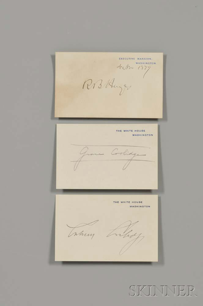 Coolidge, Calvin (1872-1933) and Grace Anna Goodhue (1879-1957), [with] Rutherford B. Hayes (1822-1893) Three Signed Cards.