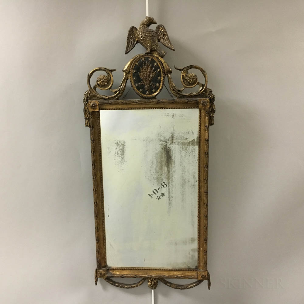 Neoclassical Carved and Gilt-gesso Mirror.     Estimate $20-200