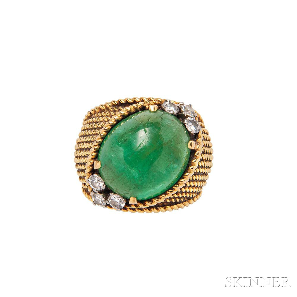 18kt Gold, Emerald, and Diamond Ring, Van Cleef & Arpels