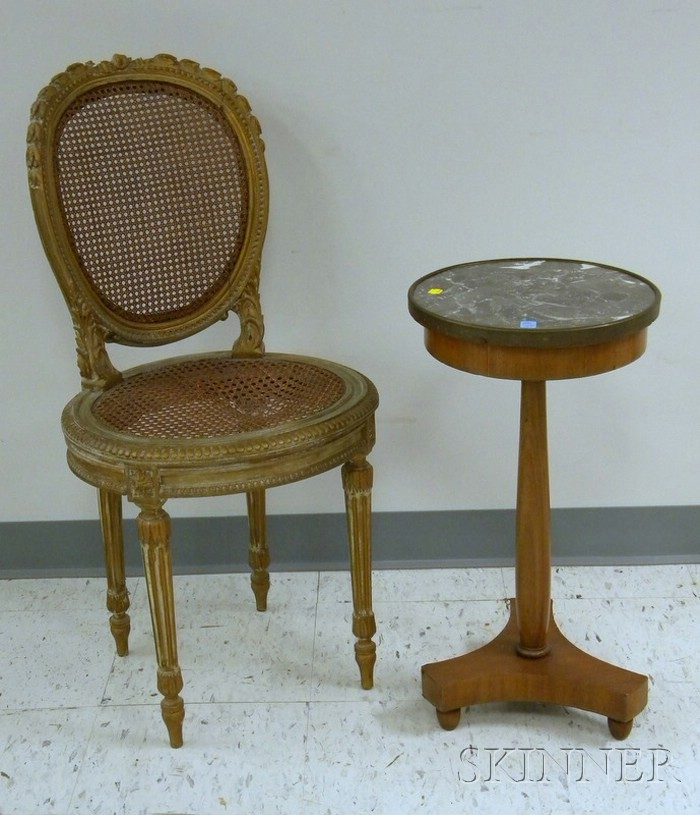 French Empire-style Brass-mounted Marble-top Mahogany Stand and a Louis XVI Style Gold-painted Carved Wood Side...
