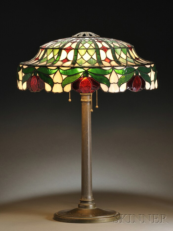 Leaded Mosaic Red Blossom Table Lamp, Possibly Suess