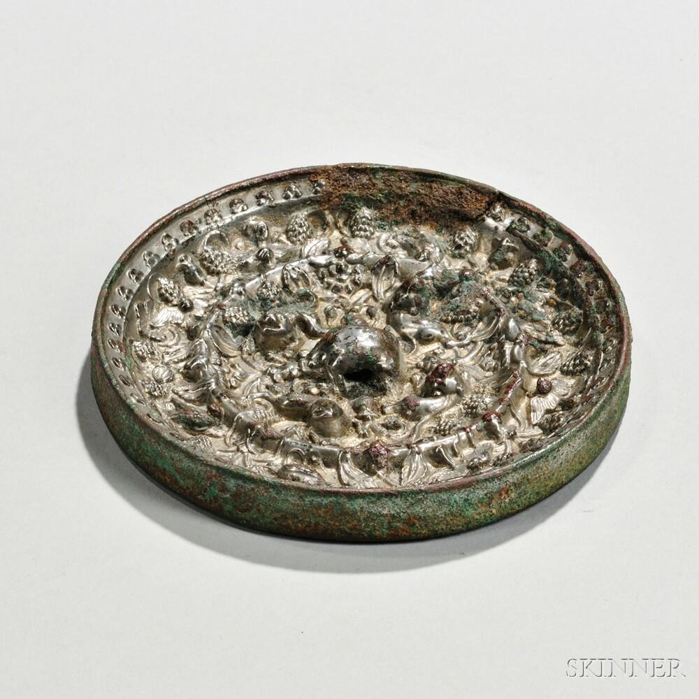 """Silvered Bronze """"Lion & Grape"""" Mirror"""