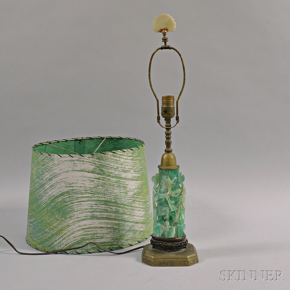 Carved Hardstone Table Lamp