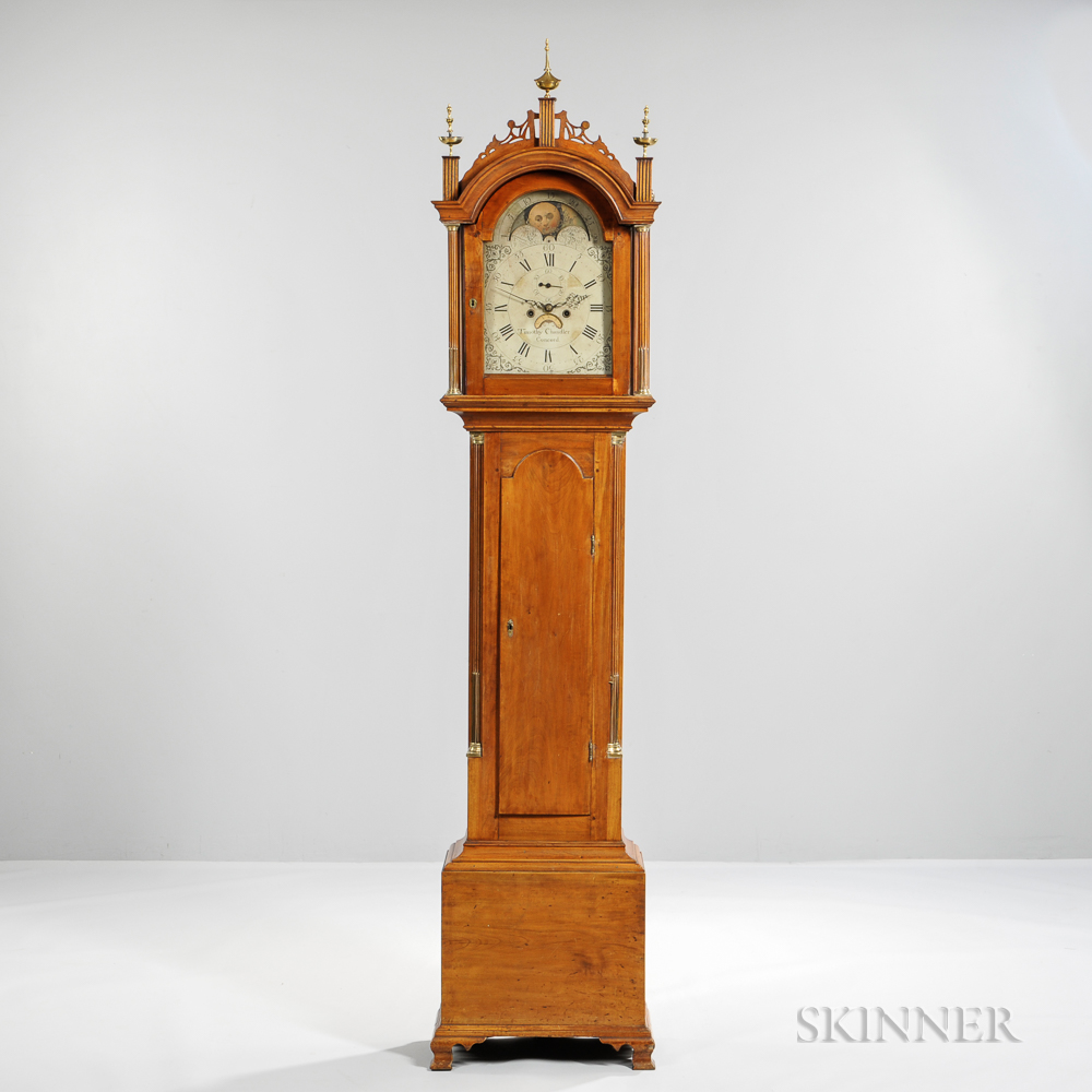 Carved maple tall case clock sale number b lot