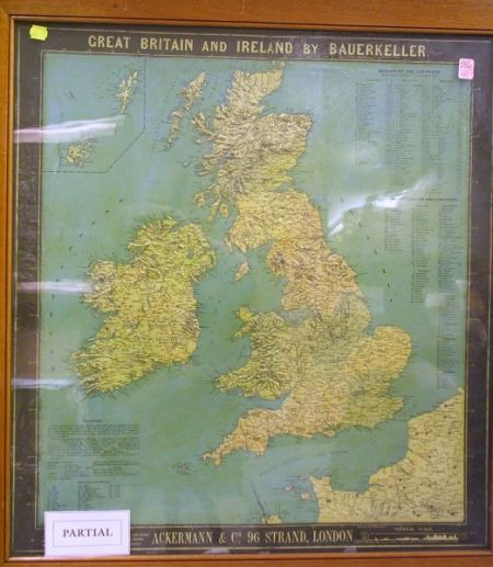 Three Framed Early 20th Century Bauerkeller & Co. Raised Relief Maps