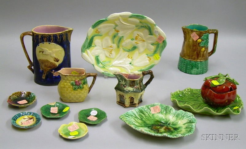 Twelve Assorted Majolica Tableware Articles