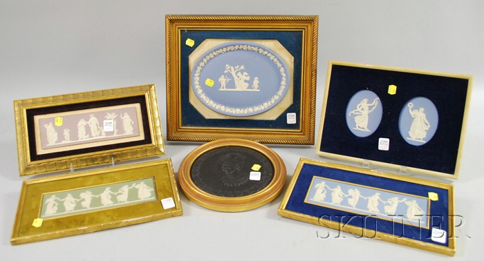 Six Framed Wedgwood Ceramic Plaques and Medallions