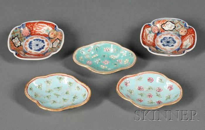 Five Export Porcelain Butter Pat Dishes