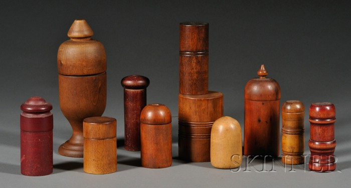 Ten Turned Wooden Containers