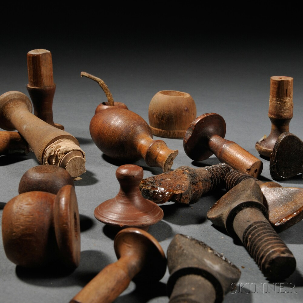 Twenty-two Shaker-made Wooden Thumbscrews, Tilter Bobs, and Pegs
