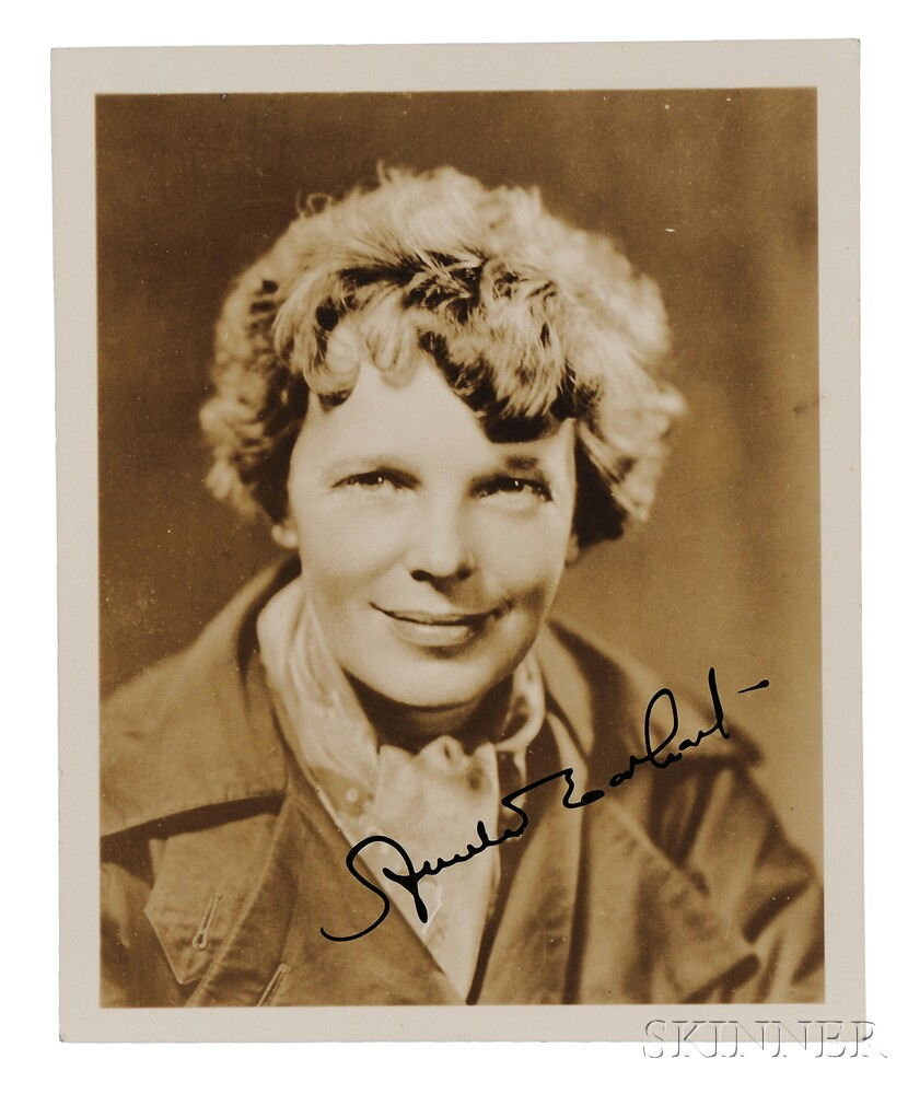Earhart, Amelia (1897-1939) Signed Photograph and Signed Card.
