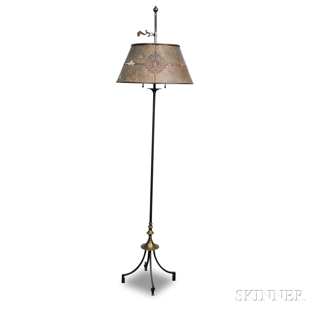 Metal Floor Lamp with Isinglass Shade