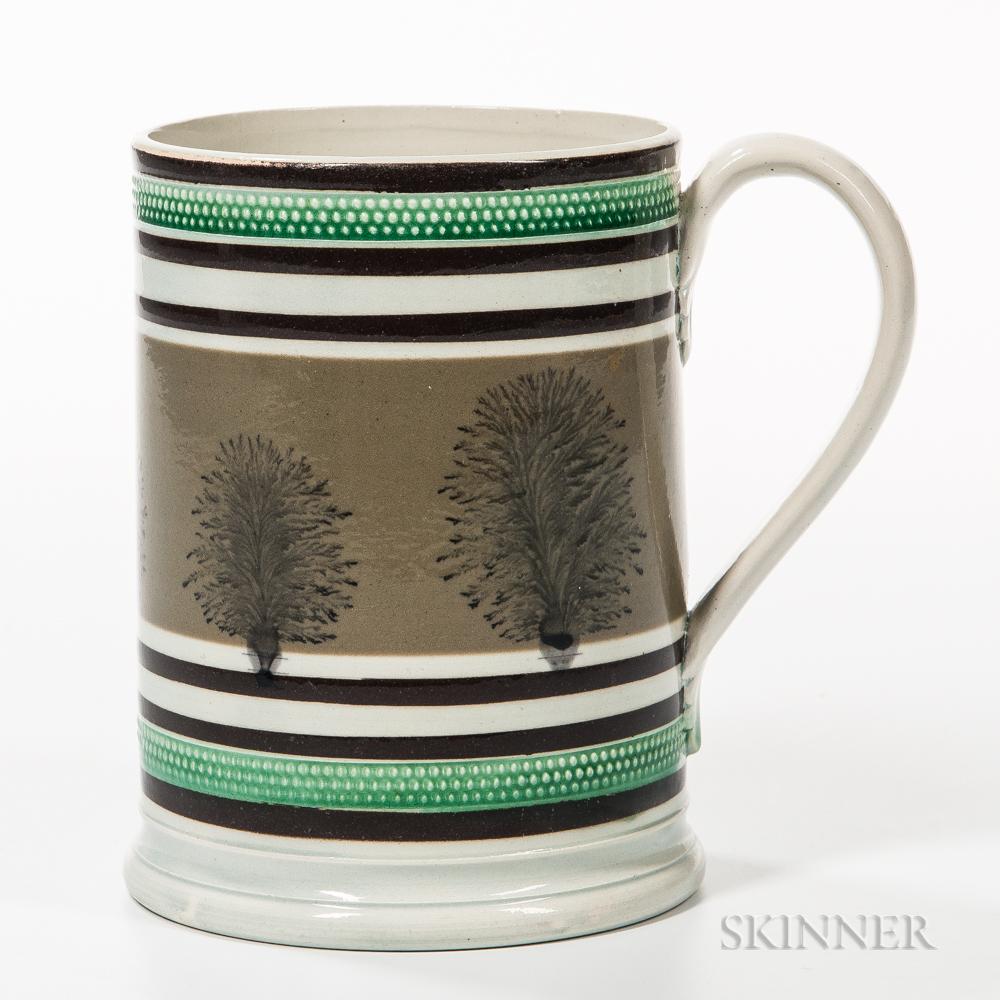 Pearlware Mocha-decorated Quart Mug
