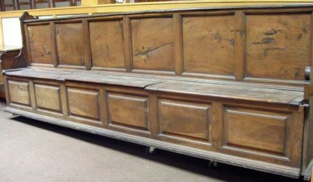 Italian Carved Walnut Lift-Seat Hall Bench