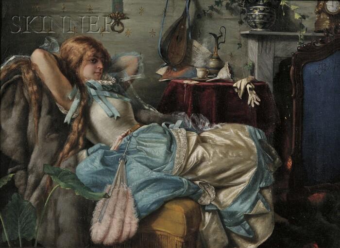 Emanuele Trionfi (Italian, 1832-1900)      Woman Reclining in an Interior