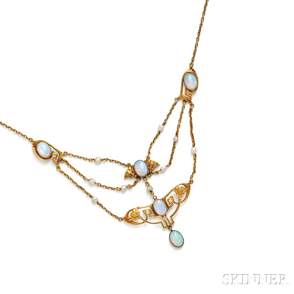 Art Nouveau 14kt Gold, Opal, and Freshwater Pearl Necklace, Durand & Co.