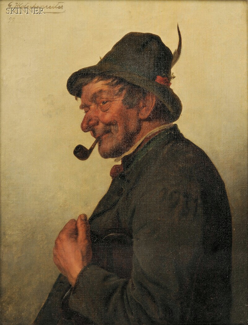 Hugo Kotschenreiter (German, 1854-1908)      Gent with a Pipe and Feathered Cap