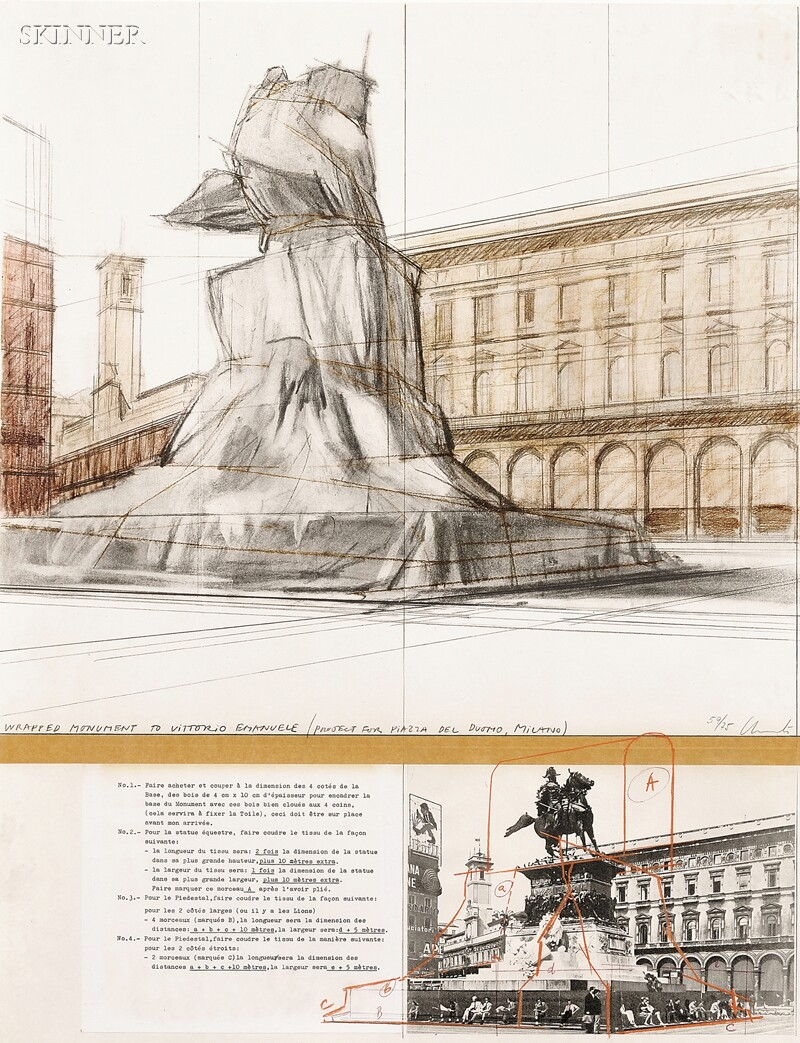 Christo (American, b. 1935) and Jeanne-Claude (American, 1935-2009) Two Images: Plates 1 and 7 from WRAPPED MONUMENT TO VITTORIO EMA...