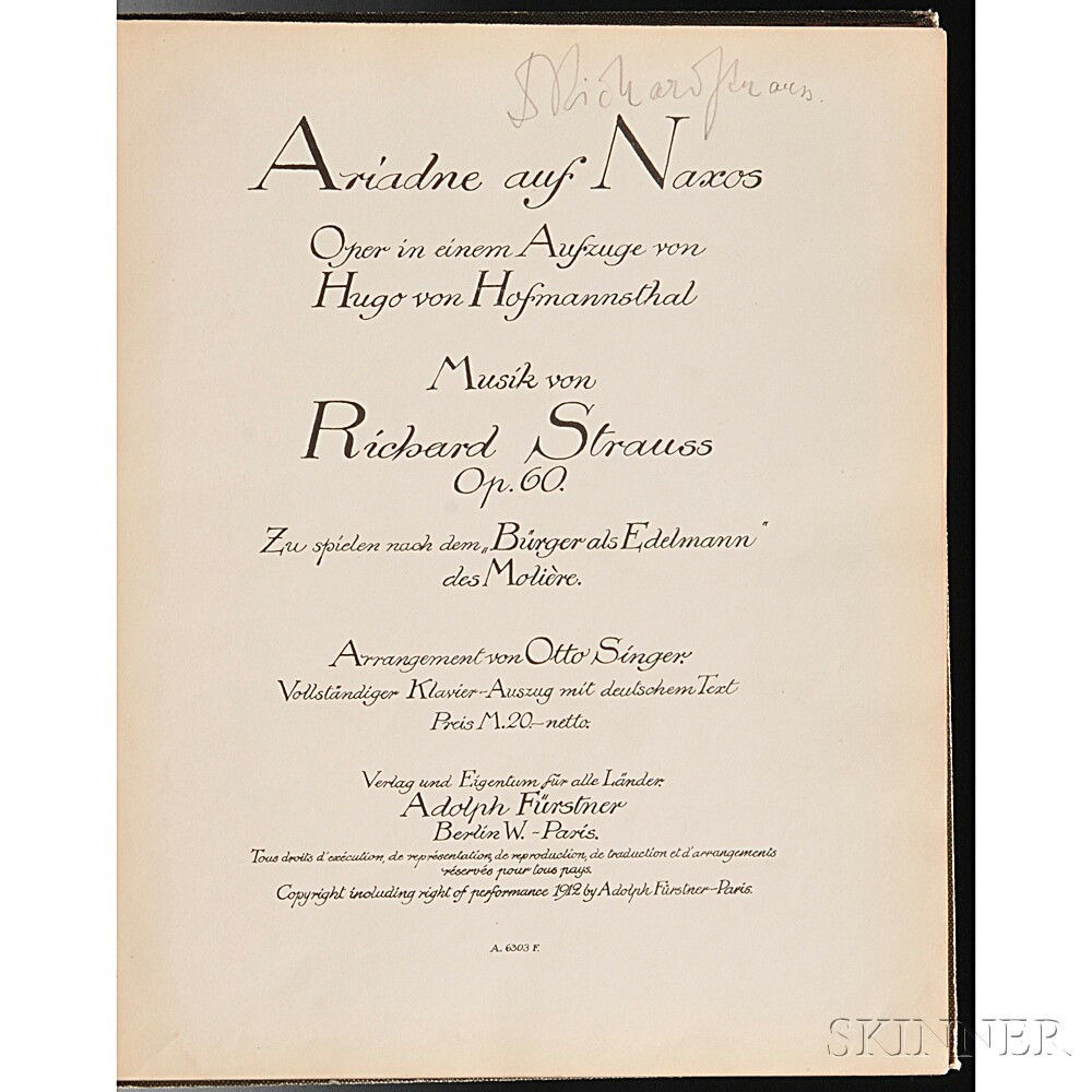 Strauss, Richard (1864-1949) Ariadne auf Naxos  , Signed.