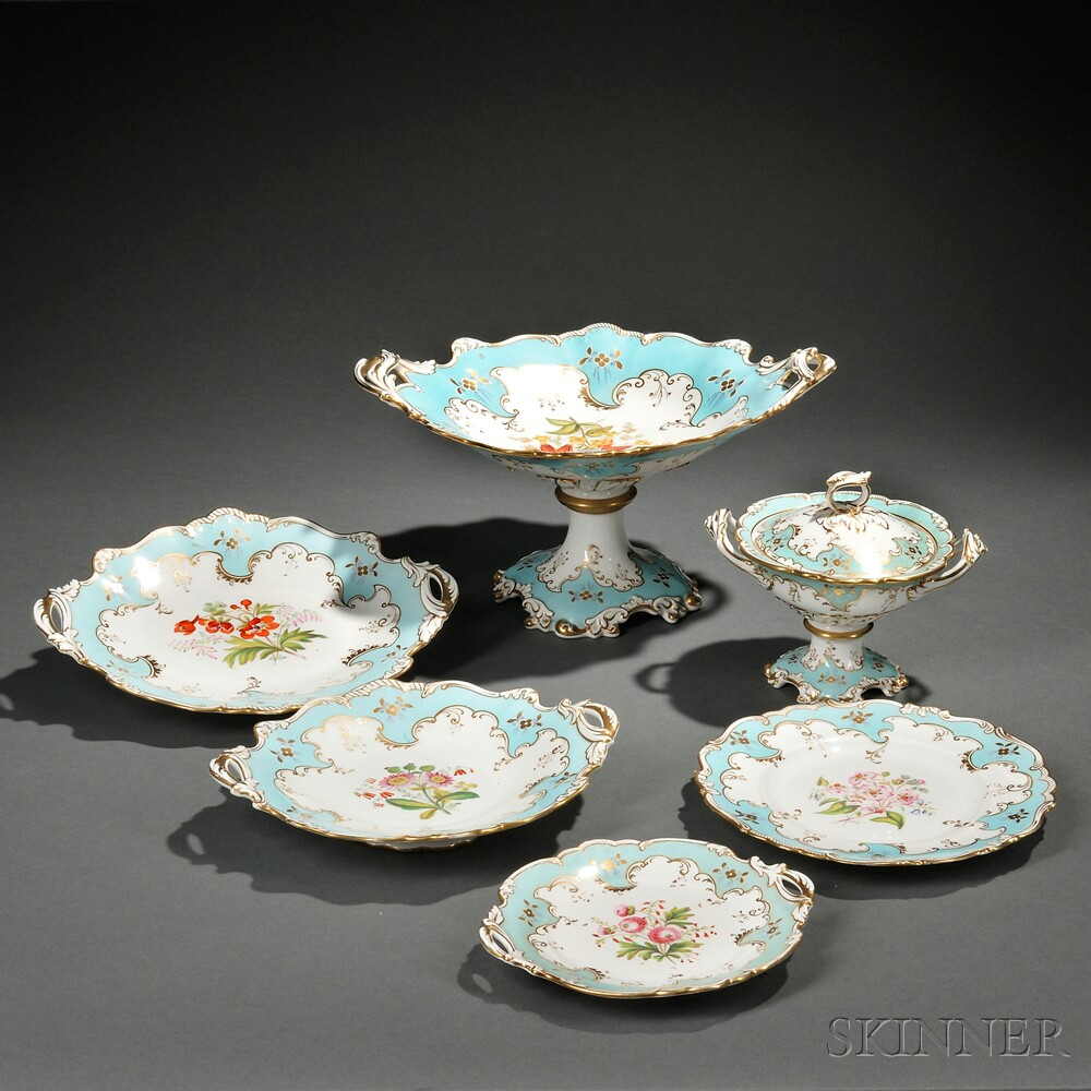 Hand-painted Rococo-style Paris Porcelain Dessert Service