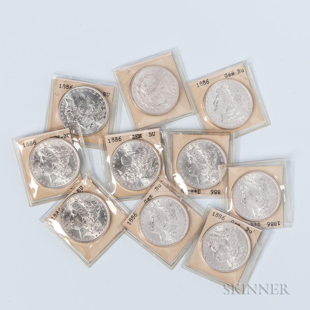 Ten BU 1886 Morgan Dollars