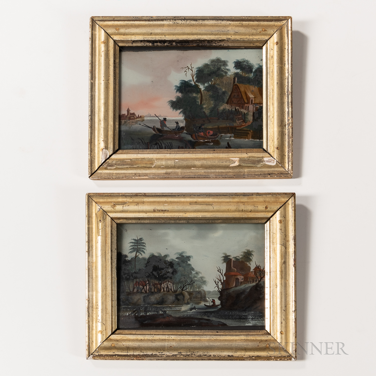Pair of Framed Reverse-paintings on Glass