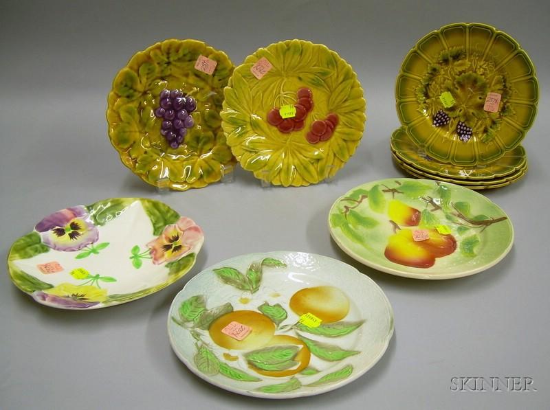 Nine French Majolica Plates