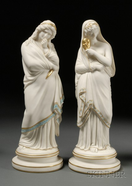 Pair of Parian Theatrical Figures