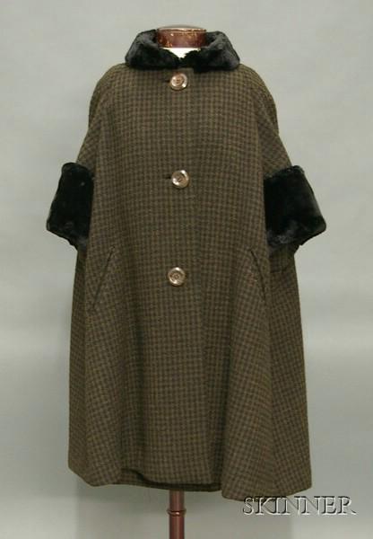 Vintage Ben Zuckerman Fur Trimmed Brown and Black Boucle Wool Ensemble