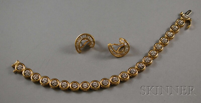 Two 14kt Gold and Diamond Jewelry Items