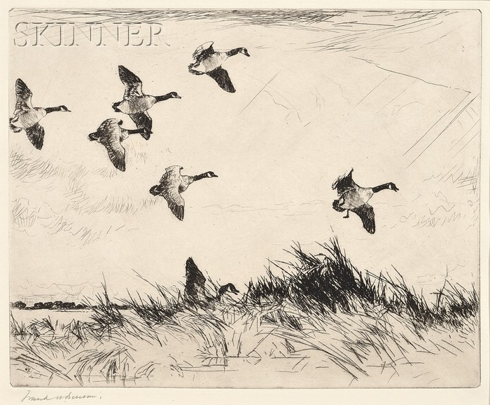 Frank Weston Benson (American, 1862-1951)      Geese Over a Marsh