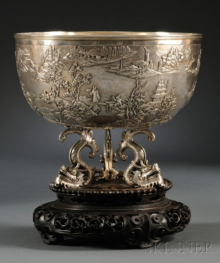 Chinese Export Silver Center Bowl