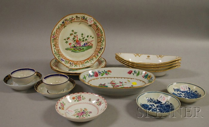 Fifteen Pieces of English and Continental Decorated Porcelain Tableware