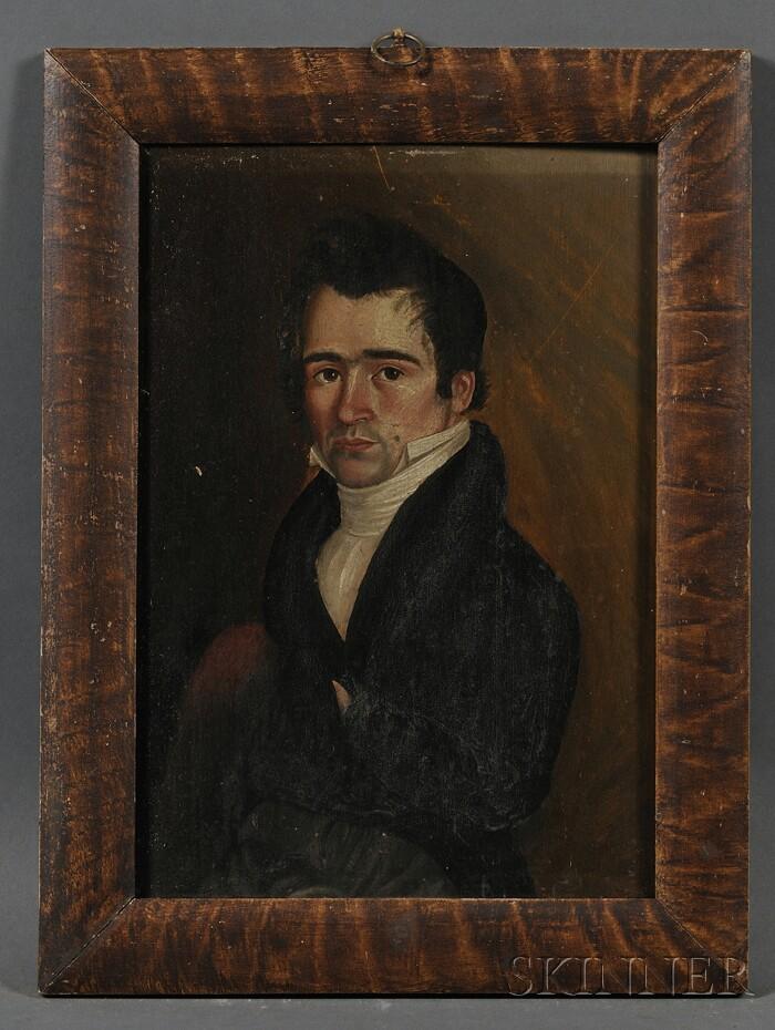 American School, 19th Century      Portrait of Benjamin Metcalf of Wilmington, Vermont