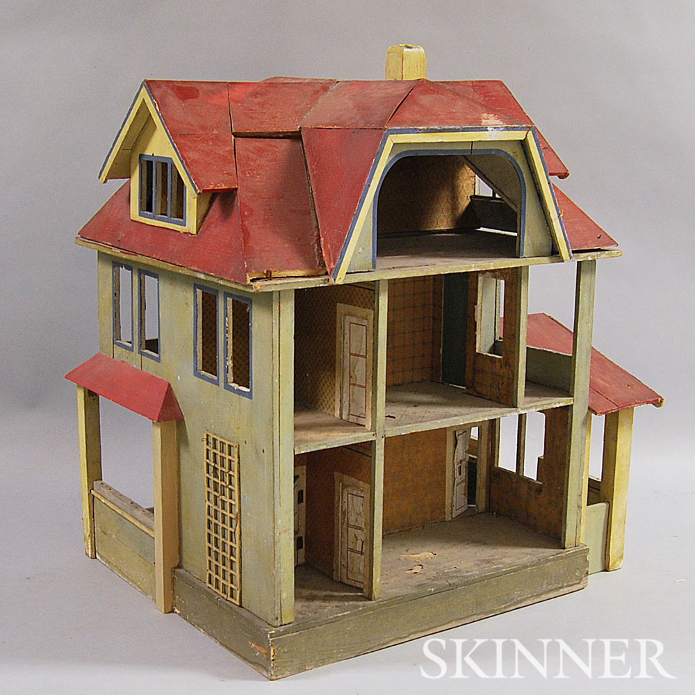 Painted Two-story Doll House