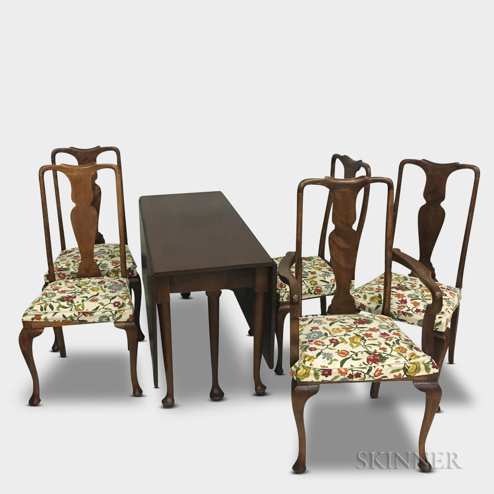 Queen Anne-style Mahogany Drop-leaf Dining Table and Five Chairs.     Estimate $20-200