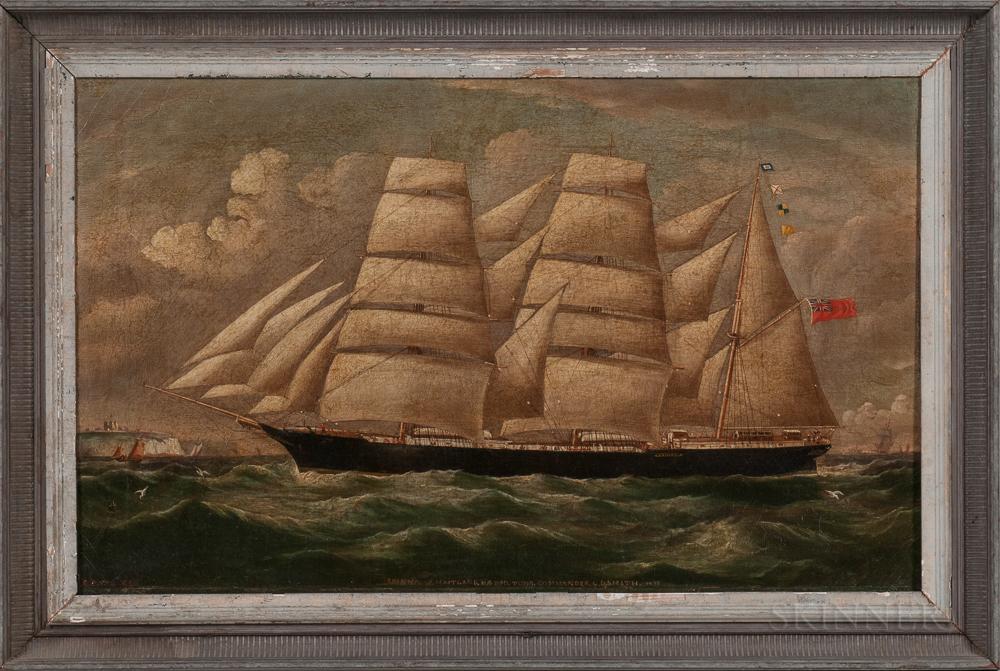 Richard Ball Spencer (British, 1812-1897)      Portrait of the Barque Erinna   of Maitland, Nova Scotia