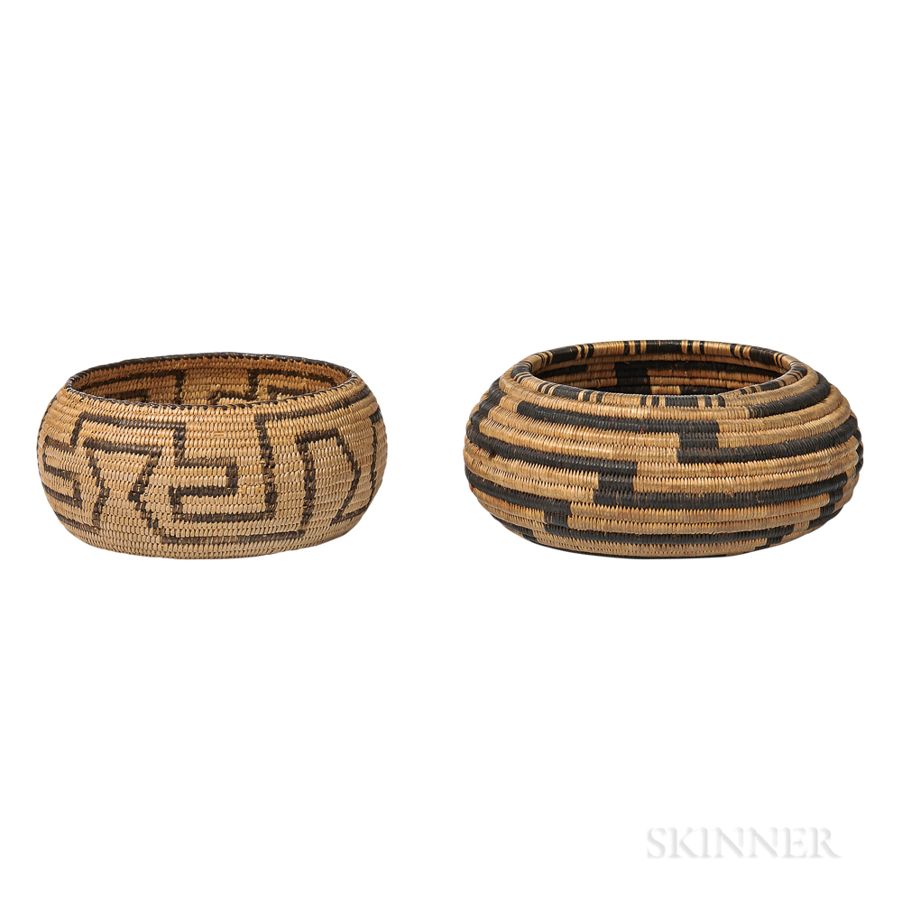 Two California Basketry Bowls