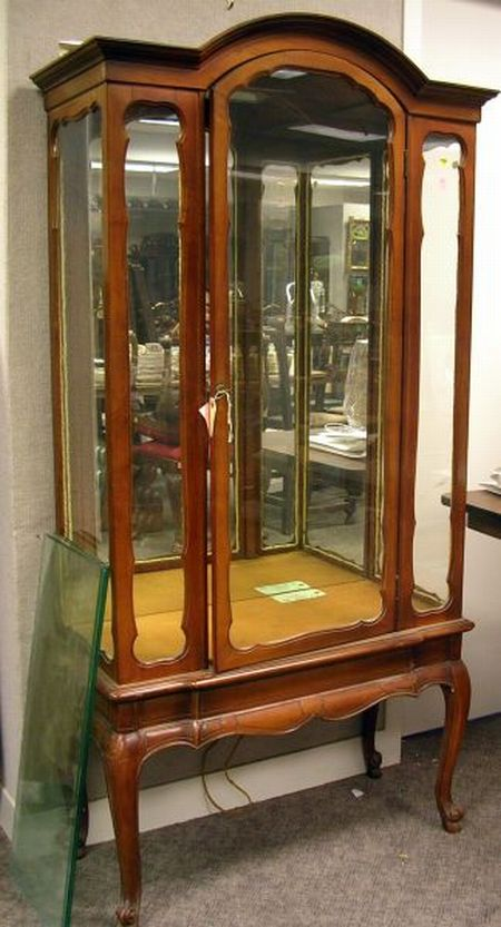 Louis XV Style Carved Maple Mirrored Display Cabinet.
