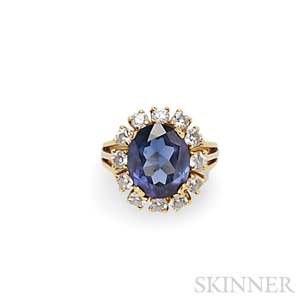 18kt Gold, Synthetic Sapphire, and Diamond Ring