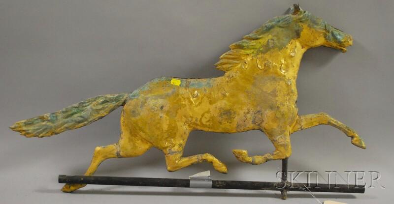 Gilt Molded Copper Running Horse Weather Vane
