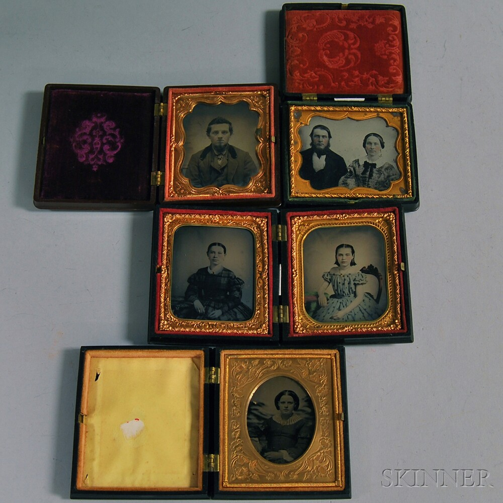 Five Sixth-plate Ambrotype and Tintype Portraits