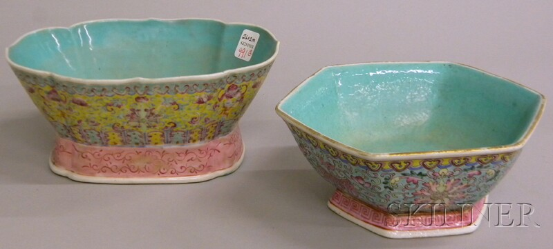 Two Chinese Famille Rose Enamel-decorated Footed Porcelain Bowls