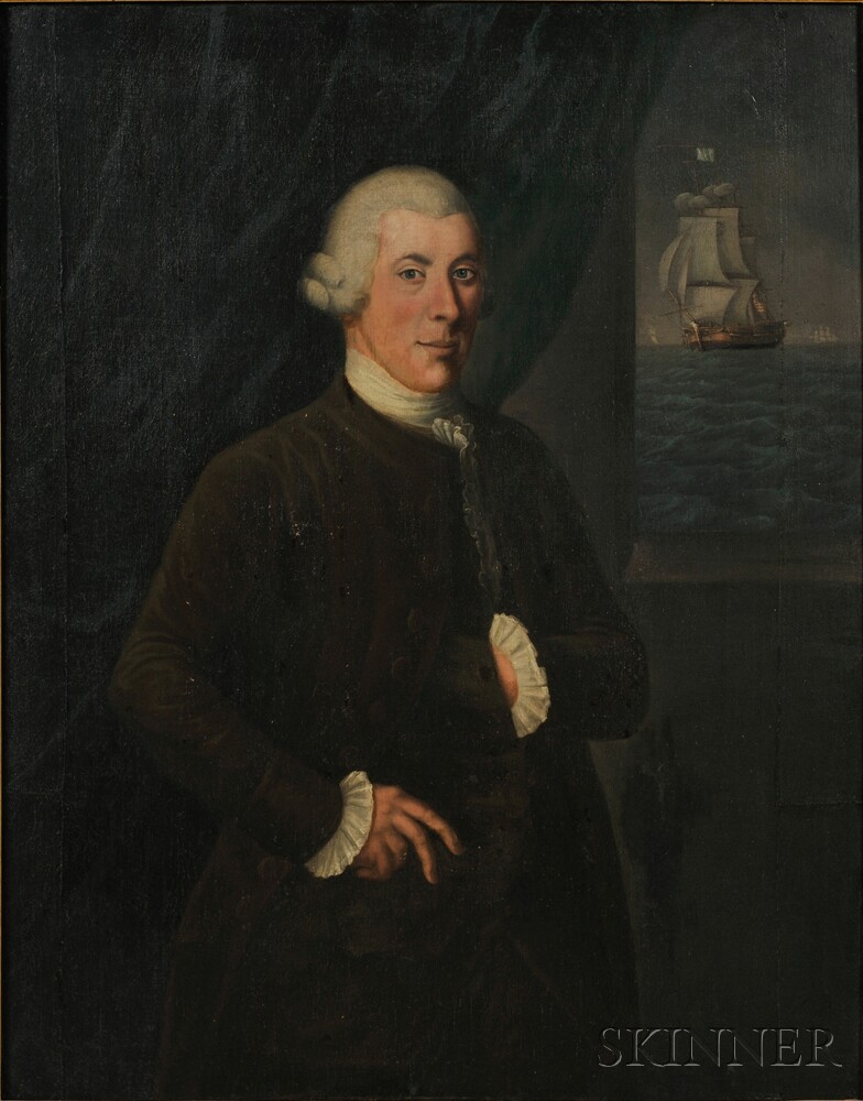 American School, Late 18th Century      Portrait of a Ship Captain, with Distant Ship Flying an American Flag.