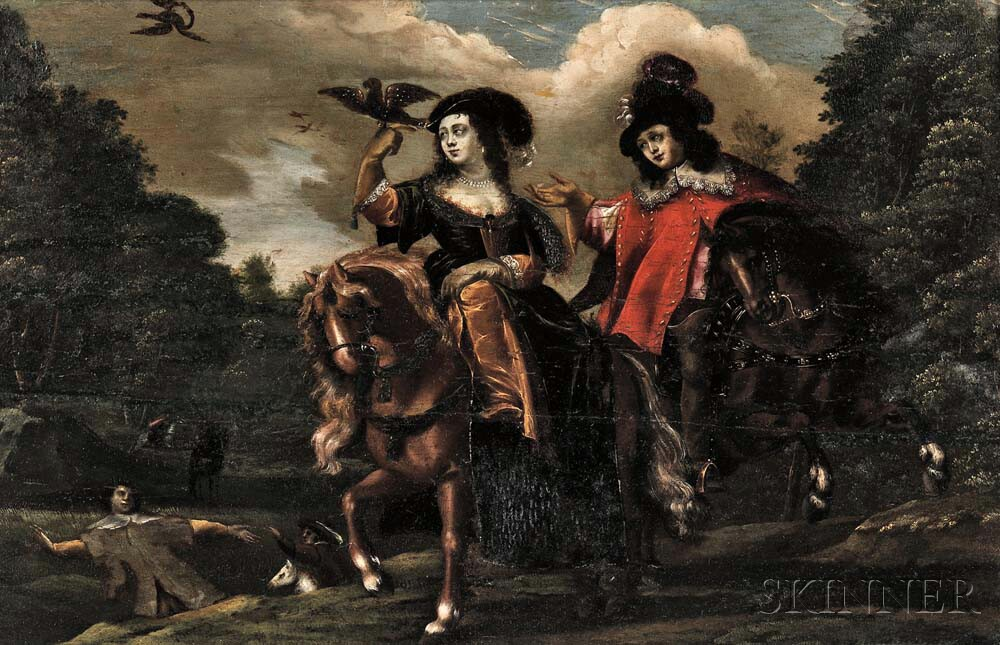 Continental School, 17th/18th Century      Falconers on Horseback