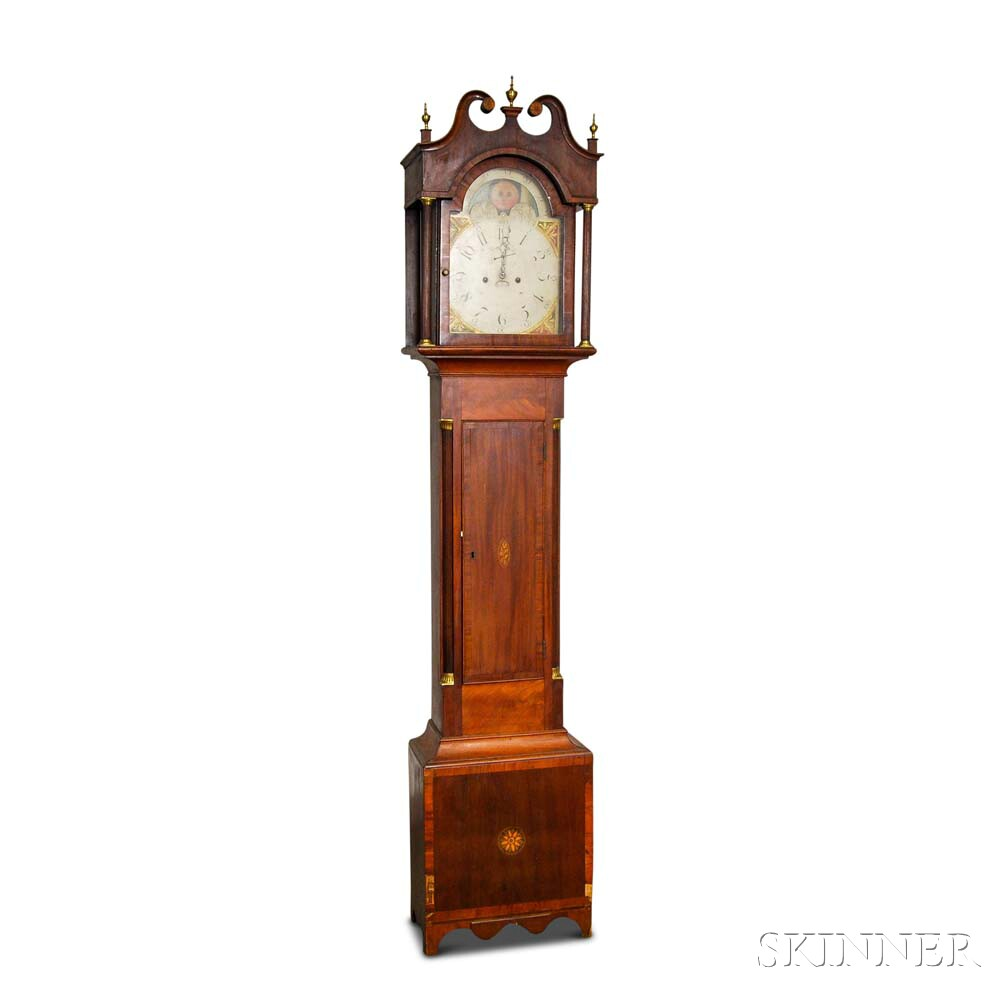 Federal Inlaid Mahogany Tall Case Clock