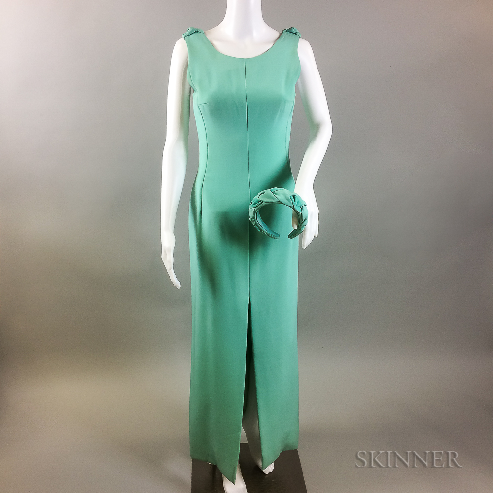 Jacqueline De Ribes Turquoise Gown with Matching Eric Javits Velvet Headband