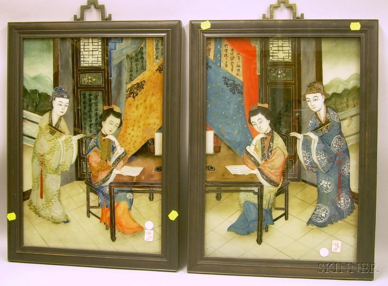 Pair of Chinese Framed Reverse-painted Interior Scenes on Glass